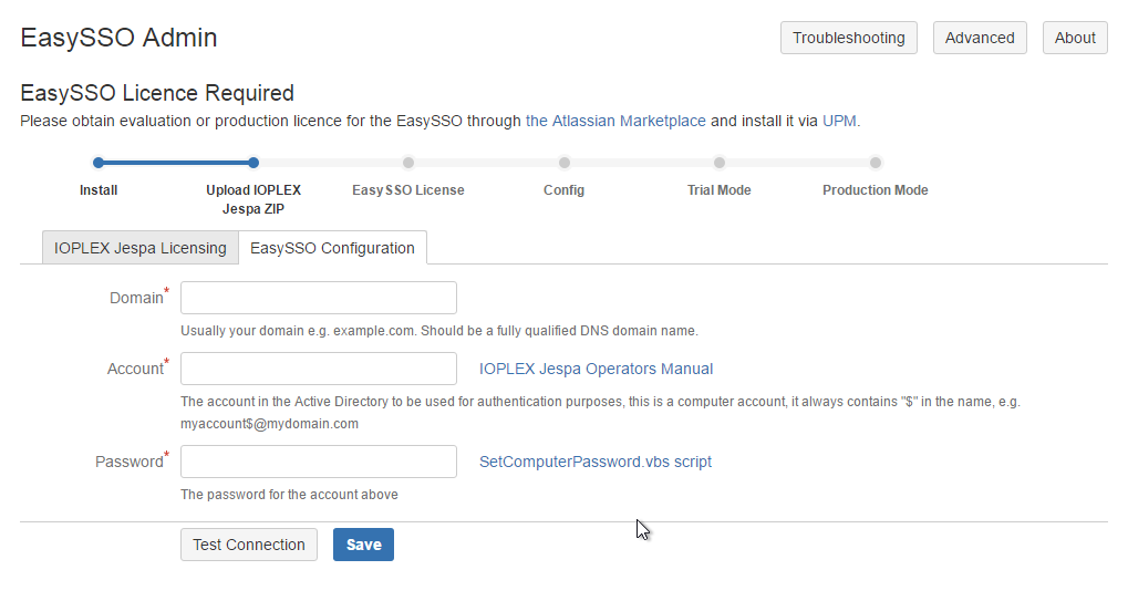 The new look of the EasySSO configuration page